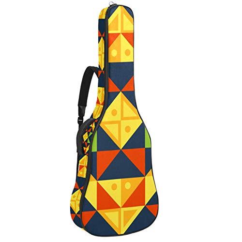 Bolsa de guitarra reforzada con esponja gruesa demasiado acolchada, funda para guitarra, cuna para cuello, gancho trasero para guitarra acústica clásica, ilustración geométrica