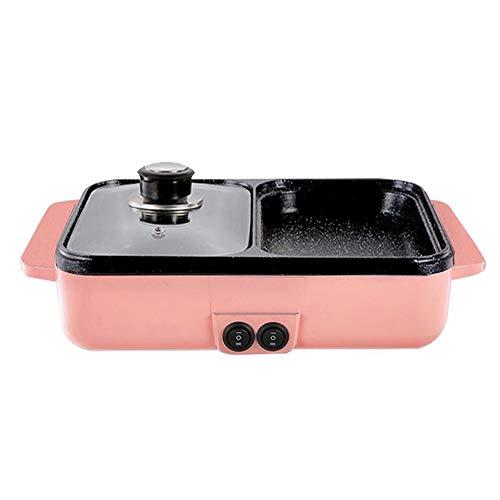 1400W 220V Grillpfanne Hot Pot 2 IN 1 Elektrischer Grill Herd Multifunktionaler Grill Antihaftplatte-Pink  AU Plug