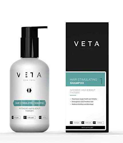 VETA - Haarstimulierendes Shampoo für Haarausfall Vermeidung - Sulfatfreie Behandlung für Männer und Frauen - Wiederherstellung des Haarwachstumszyklus - 1% Trichogen und 1% Follikusan - 250 ml