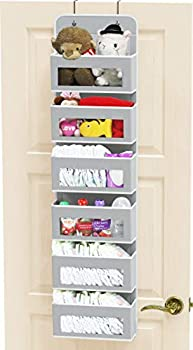 Simple Houseware Over Door/Wall Mount 6 Clear Window Pocket Organizer Gray