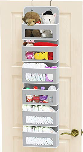 Simple Houseware Over Door/Wall Mount 6 Clear Window Pocket Organizer, Gray