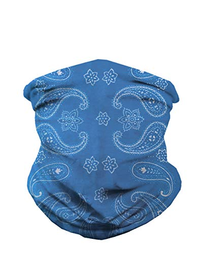 Blue Paisley Neck Gaiter Mask Full Face Covering - Cool Breathable Lightweight Fabric Mouth Gator for Men & Women iHeartRaves
