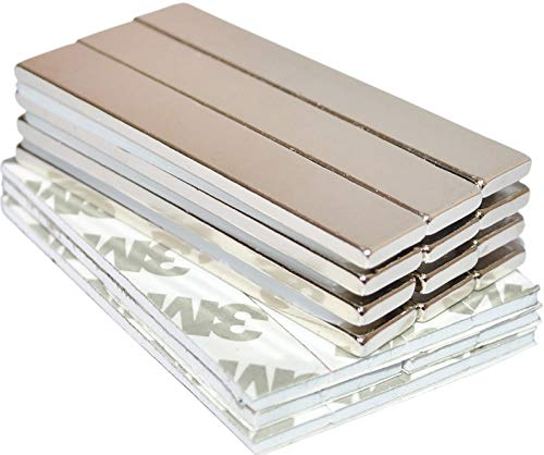 Strong Magnets Rare Earth Neodymium: Bar Adhesive Super Permanent Metal Rectangular, 60x10x3mm, Powerful Pull Force, 12 Pack| Heavy Duty, Fridge Door, Garage, Kitchen, Science, Craft, Art, Office, DIY