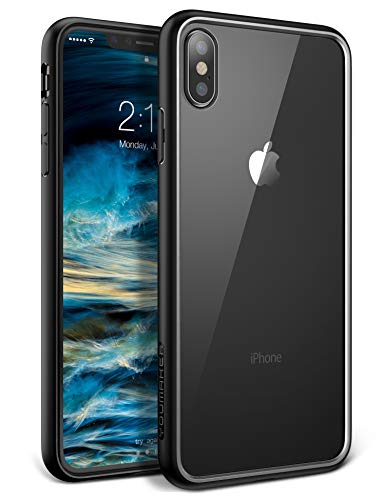 YOUMAKER Premium Crystal Clear Hybrid Case for iPhone Xs Max, Slim Fit Lightweight Bumper Scratch Resistant Drop Protection Shockproof Protective Cover for All New Apple iPhone Xs Max 6.5 inch - Black