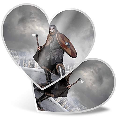 Impresionante 2 pegatinas de corazón de 7,5 cm – Calcomanías medievales de guerrero escandinavo viking divertido para portátiles, tabletas, equipaje, libros de chatarra, frigorífico, regalo genial #21859