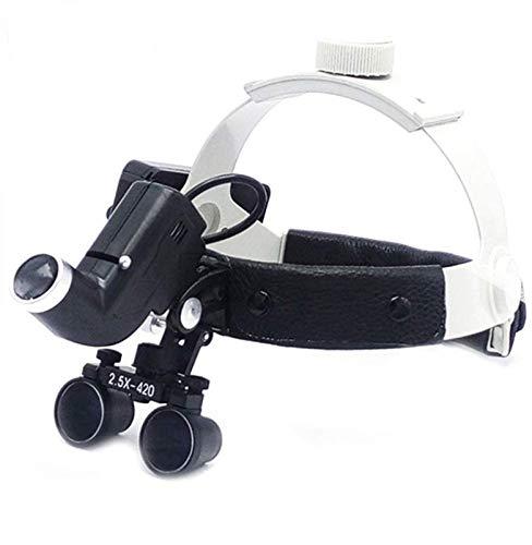 Lupa digital de mano, Quirúrgico binocular 2.5X420mm lupas Cinta de cuero dentista Gafas de lupas binoculares con 3W LED lámpara de la linterna Pasatiempos, lectura, lupa de joyería, manualidade