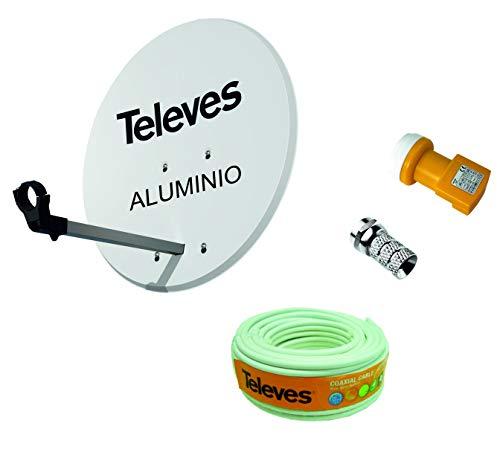 Kit Antena PARABOLICA para Astra TELEVES 63cm Aluminio + Rollo DE Cable 20 MT + CONECTOES Y LNB