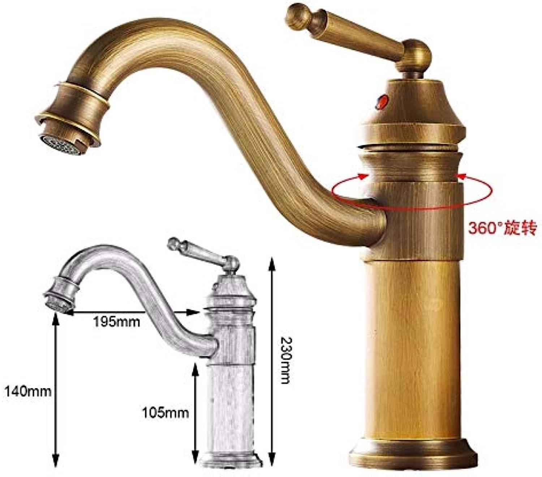 JWLT Faucet Wash face Basin Faucet All Copper Antique European Cold and hot Faucet Heighten Single Hole Platform Basin pots Retro high-end,Archaize colors