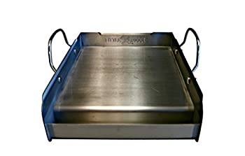 griddle-Q GQ120 100% Stainless Steel Medium-Sized Professional Griddle with Even Heating Bracing and Removable Handles for Charcoal/Gas Grills Camping Tailgating and Parties  14 x16 x6.5
