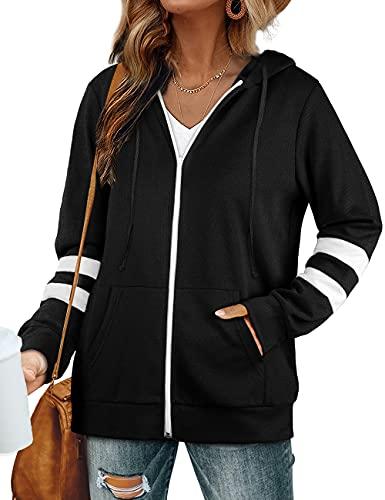 Womens Long Sleeve Tops Zip Up Hoodies Lightweight Jacket Casual Fall Sweatshirts Black XL