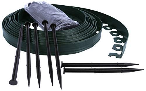 Bordo Flessibile da Giardino, Bordo Flessibile per Il Giardino, Bordo da Giardino in plastica, 4cm di Altezza - Verde 10 Metri + 30 Chiodi di Fissaggio