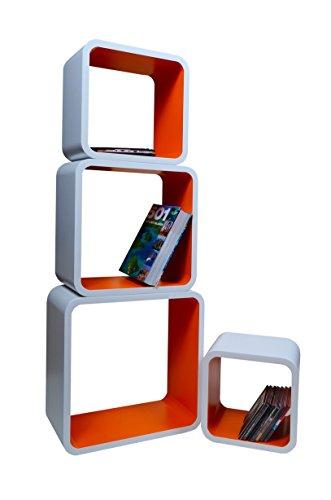 Mensola da Muro Libreria Scaffale Vari Colori retrò Cubi Moderno LO02 (Bianco/Arancione)