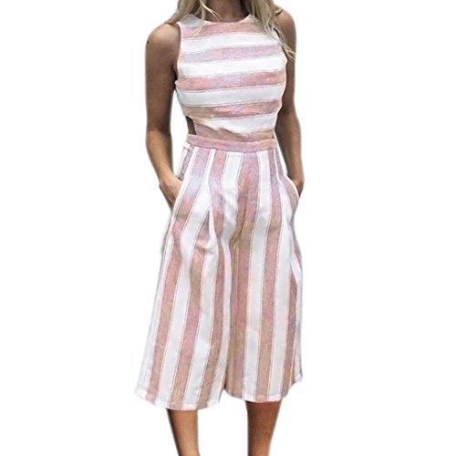 VEMOW Sommer Playsuit Elegante Damen Frauen Sleeveless Blau Streifen Jumpsuit Lässig Täglichen Party Beach Clubwear Breite Beinhosen Outfit Overalls (Rosa, 38 DE/M CN)