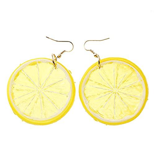 XCWXM Pendientes medianos de limón con Frutas Tropicales de 3 Colores, Colgante para Mujer, joyería de Vacaciones en la Playa, Pendientes para niña, Amarillo