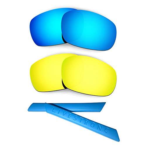 HKUCO Blue/24K Gold Polarized Replacement Lenses Plus Blue Earsocks Rubber Kit for Oakley Racing Jacket