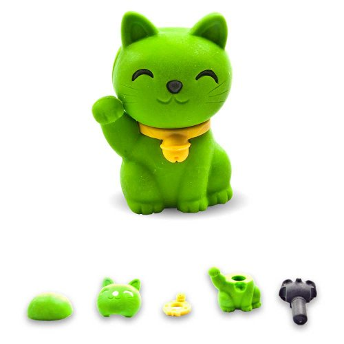 Iwako Puzzle Radiergummi zum Sammeln grüne Glückskatze Katze