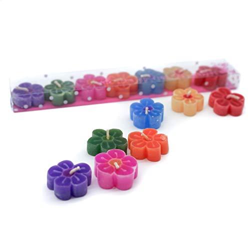 Procedentes del comercio justo cuadradas juego de velas flotantes en caja regalo/juego de bobinas de