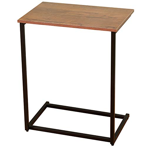 1 Tier C Shaped Side Table C Shaped Couch Laptop End Side Table with Stable Metal Frame Industrial Rectangle Snack Table Easy Assembly