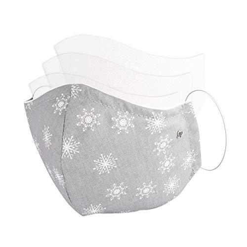 MARBURGER Mund Schutz Stoff Maske Design Kristalle XMas Grau Weiß - Vlies Filter Fach Eingenäht Für Filterwechsel (Mit 3 Waschbaren Ersatzfiltern) - Mundschutz Austauschbar Wiederverwendbar Waschbar