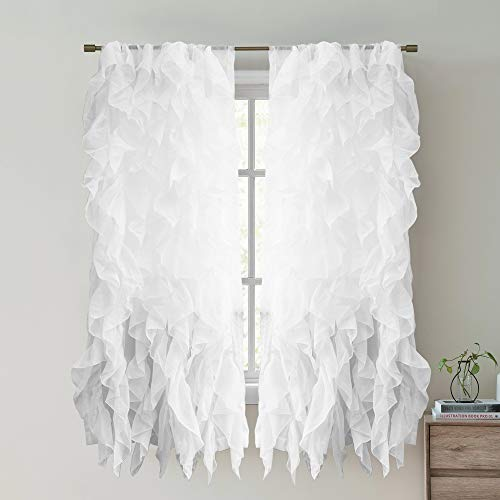 Sweet Home Collection 2 Pack Window Treatment Sheer Cascading Panel Vertical Ruffled Curtains in Many Sizes and Colors, 63' x 50', White