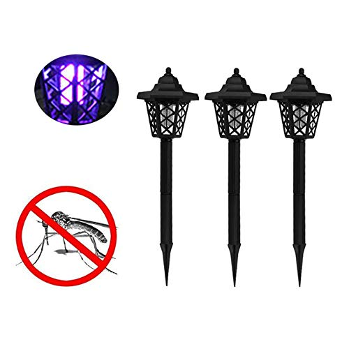 Naiflowers 3 PC Solar Powered LED Light Pest Bug Zapper Insect Mosquito Killer Lamp Ground Backyard Garden Patio Lawn Best Stinger Moth Fly Solar Powered Indoor Outdoor Light