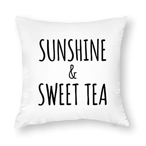 Georgia Barnard Decorative Pillow Case, Sunshine and Sweet Tea Pillow Cover, Rae Dunn Inspired Pillow Cover, Summer Farmhouse Decor Cushion Case for Sofa Bedroom Car Couch, 18 x 18 Inch