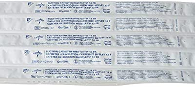 Medline Industries DYND41901 Open Suction Catheter with Whistle Tip, Latex Free, Straight Pack, 12 French Size (Pack of 100)