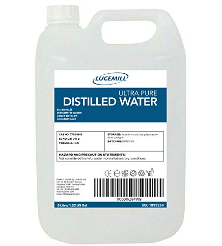 5 Litre (5L) Distilled Water - 100% Ultra Pure Steamed Water