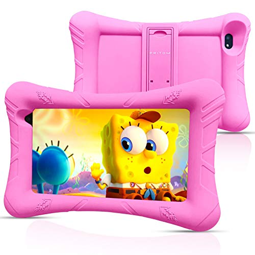 Pritom Kids Tablet, 32 GB ROM,Procesador Quad Core, Pantalla HD IPS,WiFi 7 Pulgadas Android Tablet,Control Parental,Tablet for Kids (Pink)