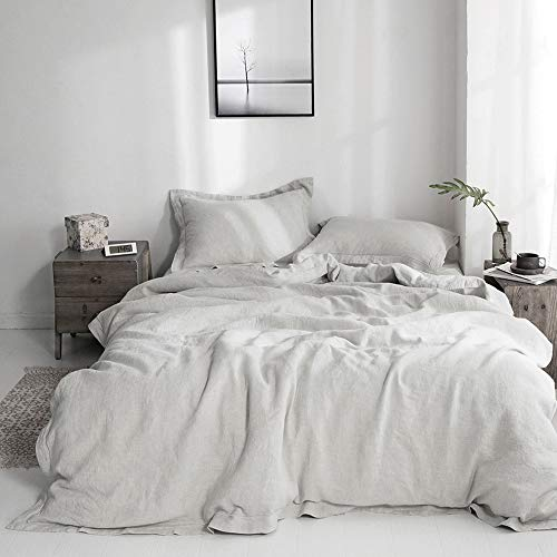 Simple&Opulence 100% Linen Duvet Cover Set with Embroidery Stone Washed - 3 Pieces (1 Duvet Cover with 2 Pillow Shams) with Button Closure Soft Breathable Farmhouse - Grey, California King Size