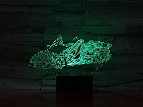 Zhuhuimin 3D licht Open Car Sport Auto batterij-aangedreven kleurwisselaar afstandsbediening voor interieurdecoratie touch sensor LED nachtlampje