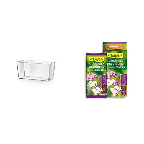 Teraplast 10447026 - Maceta, 26 x 13 x 13 cm, Color Transparente + Flower 80017 Substrato Orquídeas 5L, Marrón, 24x4.5x39 cm