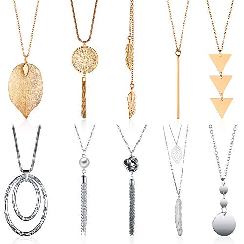 Hicarer 10 Pieces Long Pendant Necklace Simple Layer Tassel Triangle Circle Y Necklace Metal Geometric Sweater Necklace for Women and Girls