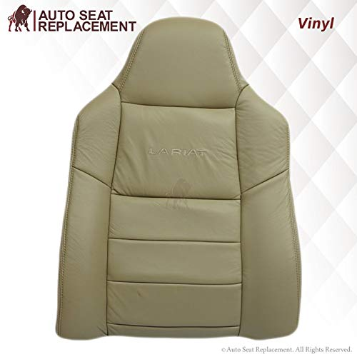 2003 2004 2005 2006 2007 Ford F250 F350 Lariat XL XLT Leather Seat Cover Replacement, Vinyl Seat Cover for Ford F250 F350 in Medium Parchment Tan (Synthetic Leather (Vinyl), Driver & Passenger Top)