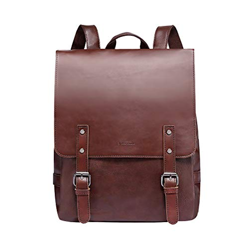 Zebella Vintage Faux Leather Backpack for Women Mens Vegan Leather Back Pack Travel Daypack College Bookbag--Coffee