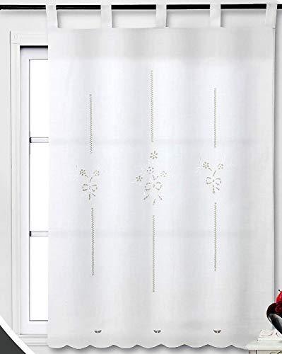 Foren Tex - Cortina, Visillo de Cocina, (M-1020), 150 x 150 cm, Bordada. 1-4 Cortinas Paga Solo un envío