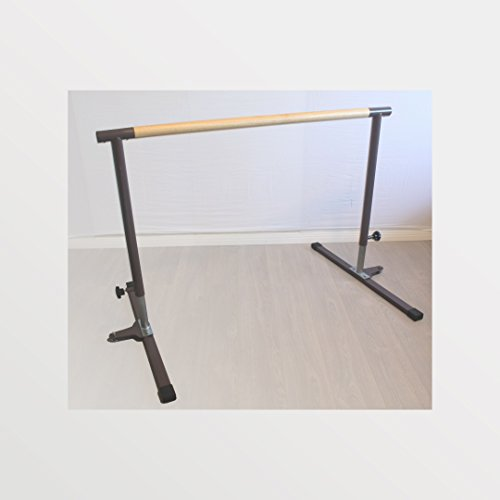 BananaBarre Ballet Barre, Pilates Barre, 4 ft x 1.5' Diameter Oak Hardwood Dowel. Free Standing Adjustable Portable Sturdy Gen II a Free Bonus Elastic Stretch Band