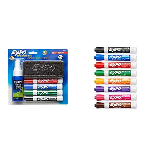 EXPO Dry Erase Marker Starter Set, Chisel Tip, Assorted Colors, 6 Piece & Low Odor Dry Erase Markers, Chisel Tip, Assorted Colors, 8 Pack