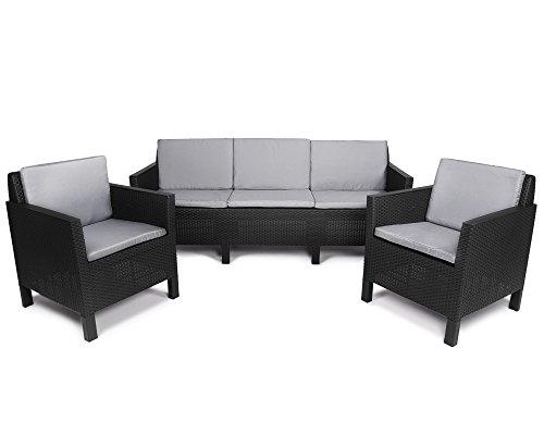 Ondis24 Lounge Set Chicago Polyrattan, Gartenmöbel Set, Sitzgarnitur 3 teilig mit Kissen, Sitzgruppe Stühle Sofa Garten