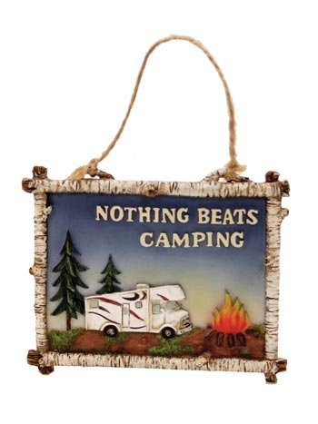 Nothing Beats Camping Mini RV Class C Camper Sign Ornament, 4-inch