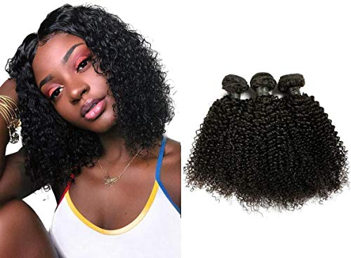 Brazilian Kinky Curly Bundles Curly Weave Human Hair Bundles 3 Bundles 8A Grade Brazilian Kinky Curly Human Hair Bundles 100% Unprocessed Virgin Hair Weft Weave Extensions Natural Black (14 14 14inch)