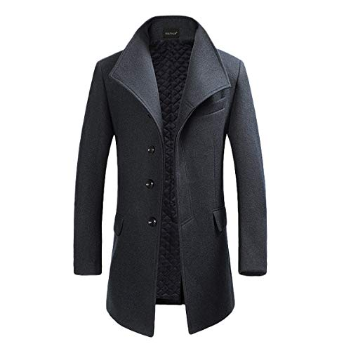 YOUTHUP Herren Wollmischung Mantel Slim fit Warmbody Windbreaker Business Winter Jacke, Grau, L