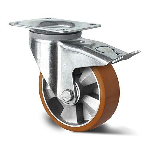 Schwerlast Lenkrolle 200 mm mit Totalfeststeller Lauffläche Polyurethan Doppelkugellager Alu Radkörper