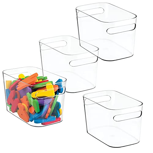 mDesign Plastic Toy Box Storage Organizer Tote Bin with Handles for Child/Kids Bedroom, Toy Room, Playroom - Holds Action Figures, Crayons, Building Blocks, Puzzles, Crafts - 10' Long, 4 Pack - Clear