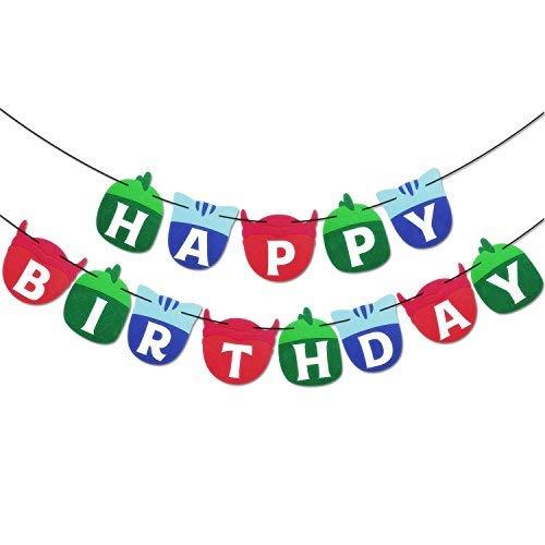 PJ Soft Masks Happy Birthday Banner Kids Party Decorations Felt Garland Supplies