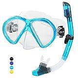 Glymnis Set Snorkeling Maschera Snorkeling Anti-Appannamento Kit Snorkeling Panoramica a 180° con Tubo di Respirazione a Secco Completo e Boccaglio per Adulti e Adolescente Acquamarina
