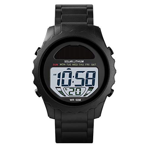 Men's Digital Sports Watch Solar Watches for Men with Waterproof Stopwatch Alarm Army Watch