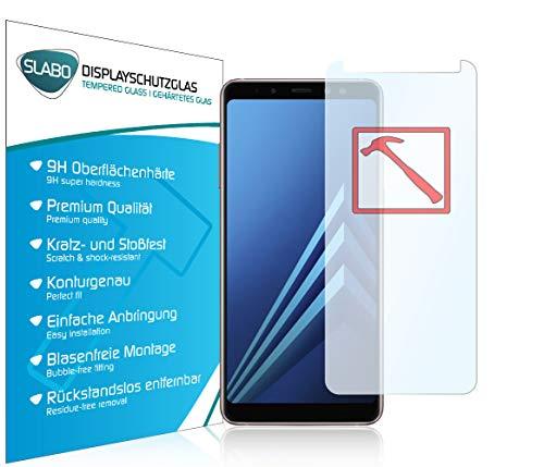 Slabo 3 x Premium Panzerglasfolie für Samsung Galaxy A8 (2018) Echtglas Bildschirmschutzfolie Schutzfolie Folie Tempered Glass KLAR - 9H Hartglas