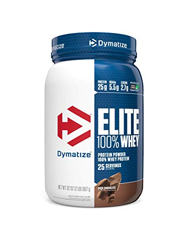 Dymatize Elite 100% Whey Protein Powder, 25g Protein, 5.5g BCAAs & 2.7g L-Leucine, Quick Absorbing & Fast Digesting for Optimal Muscle Recovery, Rich Chocolate, 2 Pound