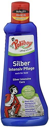 Poliboy - Silber Intensiv Pflege - zur Reinigung und Pflege für echtes Silber, Versilbertes und Gold - mit Quellschwamm - Einzeln - 200ml - Made in Germany